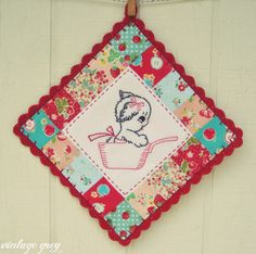 vintage grey: patchwork puppy pot holder coming to the shoppe soon!