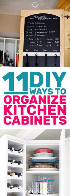 Looking for ways to keep your kitchen cabinets organized? These DIY hacks will keep everything where it needs to be. #HomeDecor #DIY #Organization