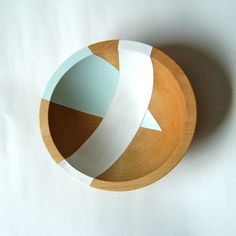 Aqua Colorblock Hardwood Small 7 Bowl by nicoleporterdesign, $30.00