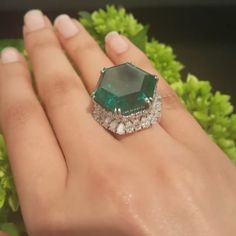 Video by @koliero Aww! The impressive 34.40 carat not-quite symmetrical hexagon Emerald in a @harrywinston setting with such alive color sold at @sothebys for $996,500. It was once owned by Evalyn Walsh McLean who also owned a big blue diamond called Hope. #sothebysjewels #highjewelry #HauteJoaillerie #highjewellery #emerald