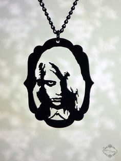 Diabolical Night of the Living Dead portrait pendant by Fable and Fury. P.S. all of their stuff is ultra cool and totally Halloweenie!
