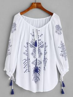 White Embroidered Lace Up Fringe Blouse