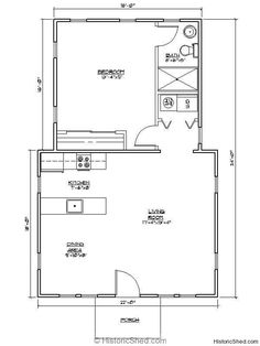 Granny pods prefab one bedroom, one bath cottage SF) by Historic Shed Garage Floor Plans, Cottage Floor Plans, Bedroom Floor Plans, House Floor Plans, Little House Plans, Small House Plans, Little Houses, Tiny Houses, Cottages And Bungalows