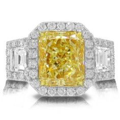 6.71ct 18k Two-tone Gold EGL Certified Radiant Cut Natural Fancy Yellow Diamond Ring - http://finejewelrygalleria.com/jewelry/rings/671ct-18k-twotone-gold-egl-certified-radiant-cut-natural-fancy-yellow-diamond-ring-com/