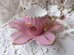 Antique Pink Lusterware Cup and Saucer / by CuriosAnCollectibles, £10.00
