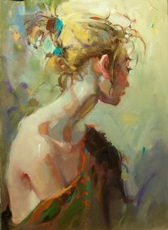 """A Different View"" Kim Roberti's 5x7 Original Contemporary Realism Figures Portraits., painting by artist Kim Roberti"