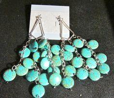 blue coin turqoise earrings  20.00$