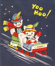 Vintage Christmas card  from the 1940s-1950s..    The card is in used condition..    Some scrapwear on the back..    Measures 4-1/2 x 5-1/2