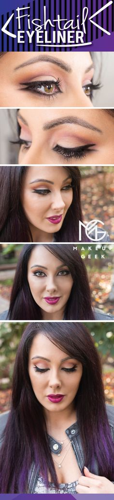 Fishtail Liner look by Marlena using Makeup Geek's Immortal gel liner.