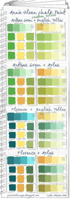 From paintcolorways blog: Mixing Annie Sloan Paint for custom colors using greens and yellows.