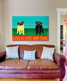 Look at this #zulilyfind! Black & Yellow Love Is Give And Take Wrapped Canvas #zulilyfinds