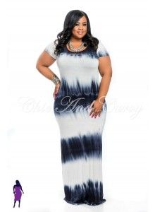 . New Plus Size Short Sleeve Maxi Dress Tie Dye Black/Dark Blue and White 1X 2X 3X