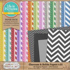 Chevrons & Solids Papers v.01 - $5.25 : Peppermint Creative, Digital Scrapbook Supplies