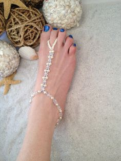 Barefoot sandals, beach wedding shoes - Swarovski blue and white pearl, clear crystal, pearl seed beads, anklet toe ring