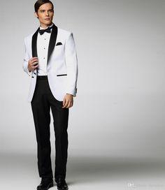 11978e3440 2015 Classic Groom Tuxedos Custom Made Wedding Suit For Men White Jacket  With Black Satin Lapel Jacket+Pant+Tie Men s Suits DK