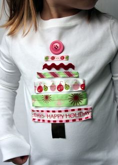 Ribbon Christmas Tree Applique Shirt -as seen on Etsy but think I can do it with ribbon and button stash for Gracie