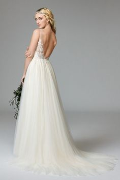 romantic wedding dress, illusion lace, tulle wedding gown, open back wedding dress, wildflowerbridal