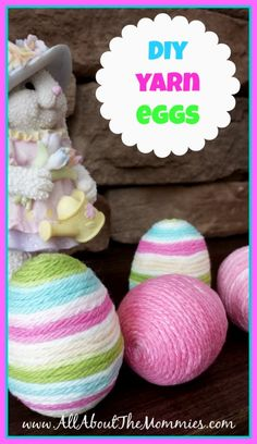 DIY Yarn Eggs Tutorial via All About the Mommies  #easter #diy #eastercrafts