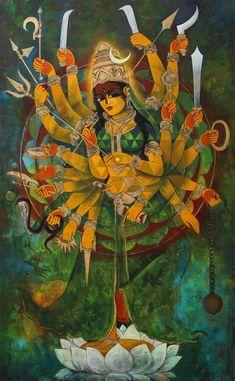 Mahadevi- R Nyalapalli Durga Maa Paintings, Durga Painting, Lord Ganesha Paintings, India Painting, Lord Shiva Painting, Indian Art Paintings, Madhubani Painting, Painting Art, Kali Goddess