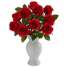 Roses with Colored Glass Vase