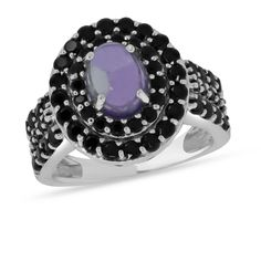 Viola, Oval-cut Amethyst Cabochon & Black Spinel Ring in Sterling Silver