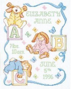 "Baby Birth Sampler Cross Stitch Kit Sleepy Bunnies 11"" x 14"" Janlynn Counted"