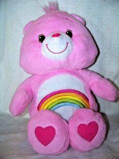 "Pink Care Bears Plush 12"" Shaggy Classic Look Cheer Bear Rainbow Retired"