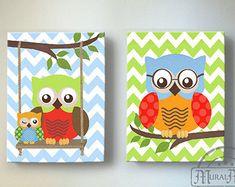 Owl Nursery Decor OWL canvas art Baby Girl Nursery by MuralMAX
