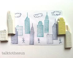 all 7 house stamps are in different sizes. inspired by gamla stan stockholm at night... houses and apartments scattered around but i see orange warm lights through the windows, it was lovely view! every rubber stamp by talktothesun is hand drawn and hand carved. SIZE: about 2.5cm (1) - the tallest house stamp  IDEAS FOR CRAFT PROJECTS: diy birthdays, thanksgiving, halloween, christmas, any occasions // winter village town christmas themed scrapbooking // stamp on snail mai...
