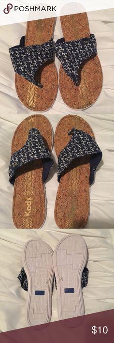 Keds flip flops size 9 Keds flip flops size 9...navy blue with white leaf detail...size 9 Keds Shoes Sandals