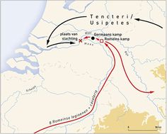 Geographic map with the reconstruction of the campaign of Caesar in 55 BC. and location (cross) of the mass slaughter of the Tencteri and Usipetes at Kessel. © Copyright VU University Amsterdam