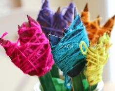 Spring Fine Motor Activity for Kids: Yarn Wrapped Tulips