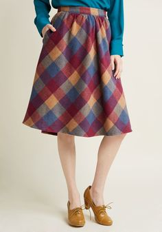 Sunday Sojourn Midi Skirt in Warm Plaid in XS, #ModCloth