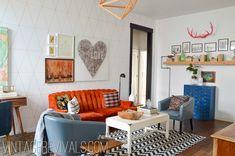 Orange Tufted Couch Living Room Makeover @ Vintage Revivals