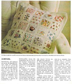 Almofada e Colcha em Patchwork com Crochê ~ Pontos e Pontos