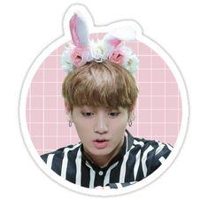 Jungkook conejito lindo de la etiqueta engomada BTS • Also buy this artwork on stickers.