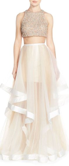 Glamour by Terani - Couture Beaded Top & Organza Two-Piece Ballgown