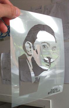 The king of surrealism, Salvador Dali, own him in stencil form - http://www.idealstencils.co.uk/salvador-dali-stencil-1972-p.asp
