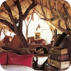 Tree limbs can be used in any room to add that magical feeling of being in nature, of living in a tree. Their organic forms bring balance to a room full of modern, man-made things.