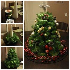 DIY Ribbon and Mesh Christmas Tree Centrepiece