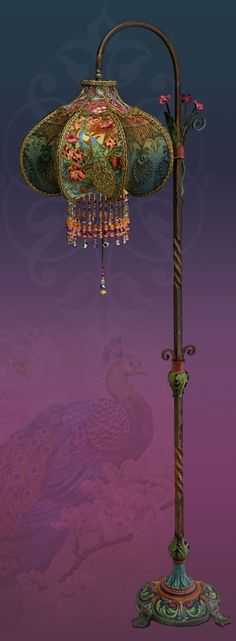 A Peacock Victorian Beaded Lamp from Nightshades