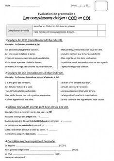 Compléments essentiels COD - COI - Cm2 - Bilan à imprimer - Pass Education | c | Teaching french ...
