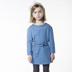 CARREMENT BEAU Robe en denim avec ceinture fille bleu - Kids around