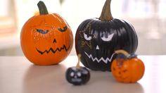 Punk Rock Inspired Pumpkins for Halloween - DIY Style - Martha Stewart Halloween Trick Or Treat, Halloween Crafts, Halloween Decorations, Halloween Ideas, Happy Halloween, Halloween Pumpkins, Martha Stewart, Punk Rock, Decor Crafts