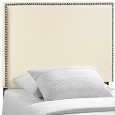 """- Contemporary headboar - Elegant expansive design - Fine linen upholstering - Particleboard with solid wood poles Overall Product Dimensions: 2.5""""L x 39.5""""W x 48""""H Floor to bottom of Headboard: 25""""H"""