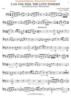 Cello Sheet Music (Can You Feel The Love Tonight from Disney's The Lion King)