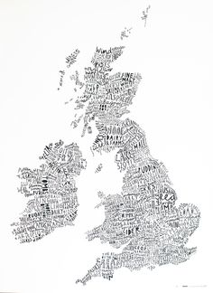 The word map is made using selected text that has a certain relationship to its particular geographic location. Stereotypes, clichés and typecasts help to build an archetypical map of text to chart the infinitely diverse character of the British Isles.