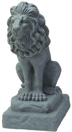 28 In. Guardian Lion Patio Garden Weather Resistant Resin Outdoor Statue In Grey #EmscoGroup