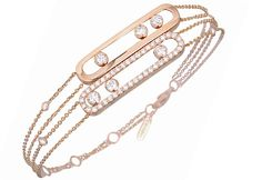 Messika?s Move bracelet in pink gold with diamonds.