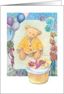 Illustrated cuddly teddy bear, birthday cupcake